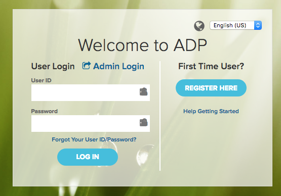 Screenshot: Welcome to ADP. User Login. Admin Login. User ID. Password. Forgot your User ID/Password? Log in. First Time User? Register Here. Help Getting Started.