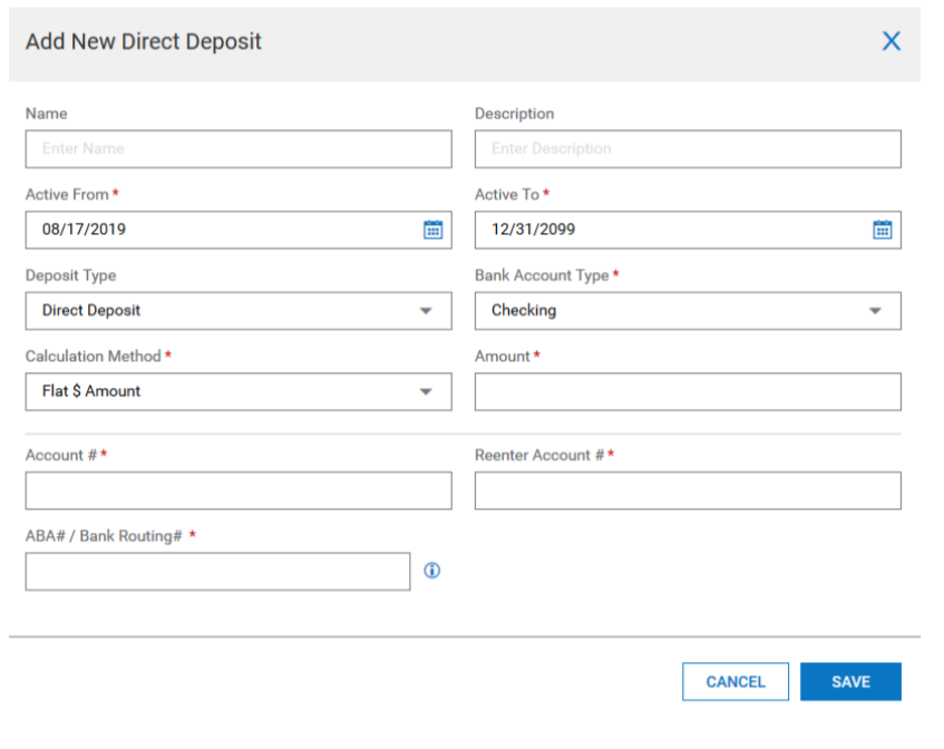 Kronos Direct Deposit Add form screenshot