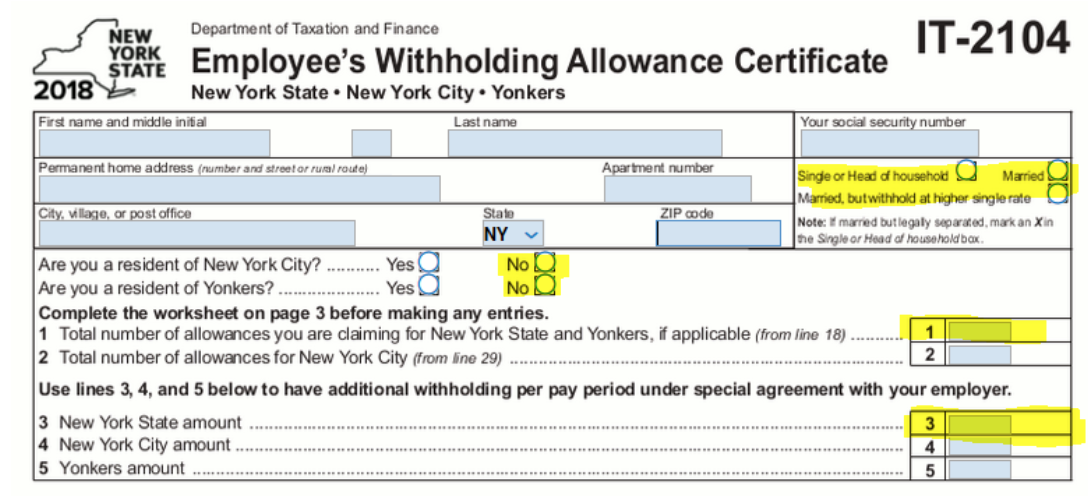 Withholding NYS IT-2104 form screenshot