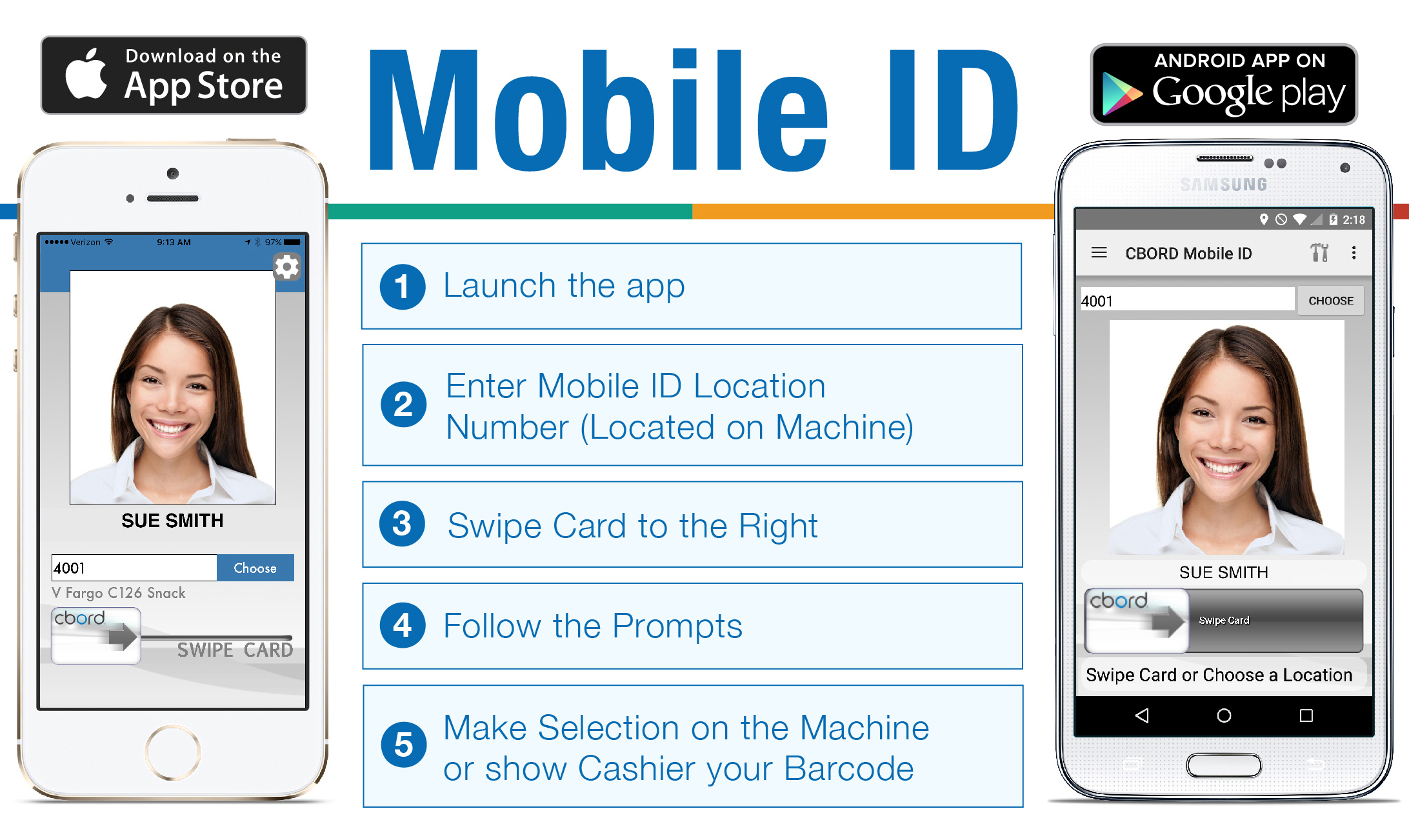 Mobile ID. Download on the App Store or Google Play. 1. Launch the app. 2. Enter Mobile ID location number (located on machine). 3. Swipe card to the right. 4. Follow the prompts. 5. Make selection on the machine or show cashier your Barcode.