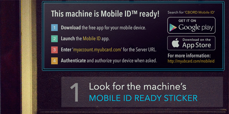 1. Look for the machine's Mobile ID ready sticker.